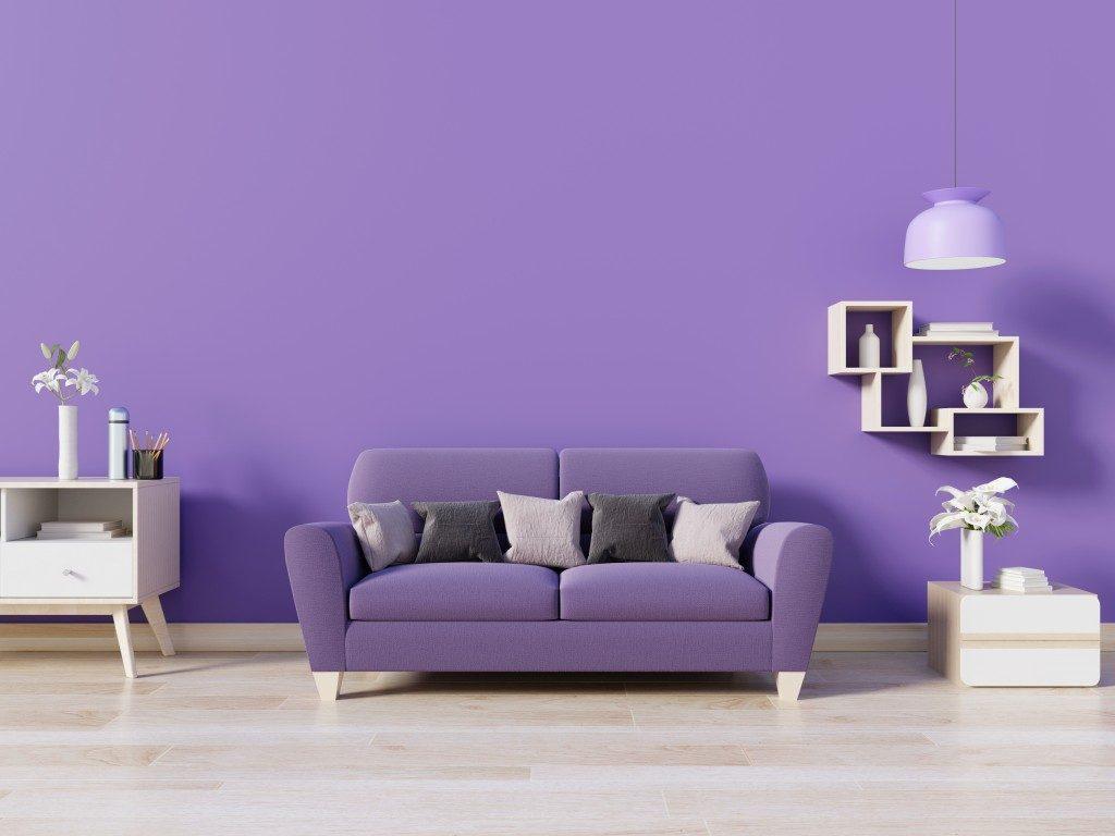 a purple-themed living room