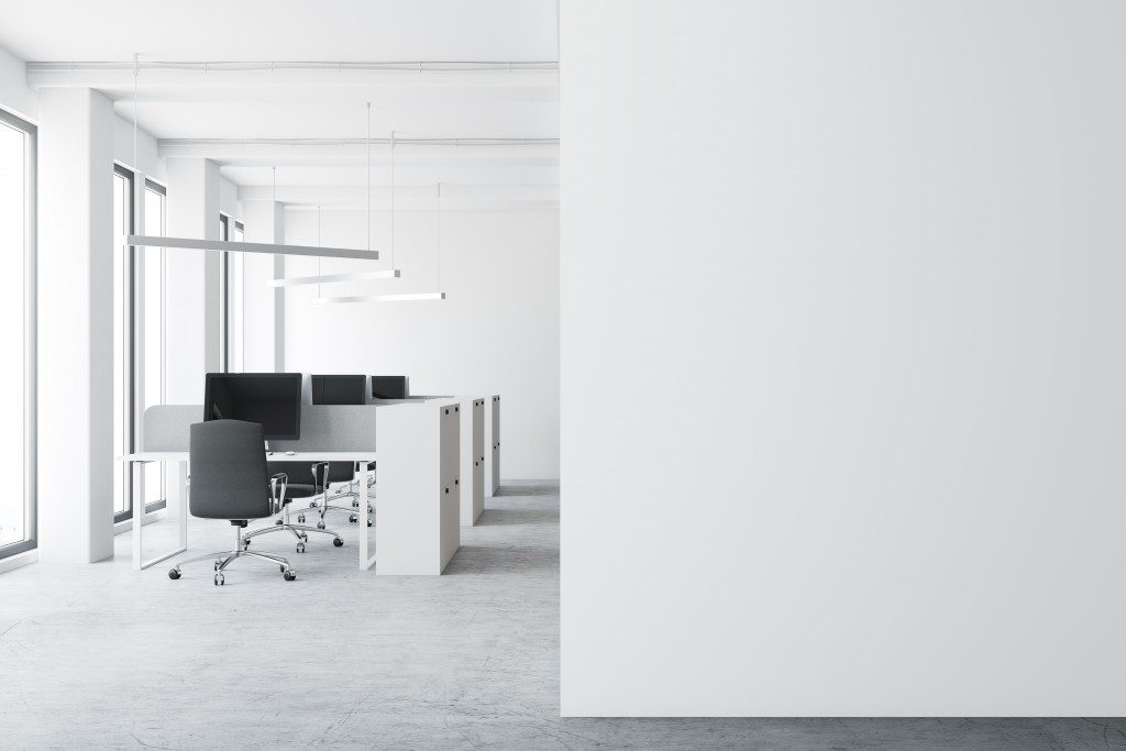 Modern office space with white walls