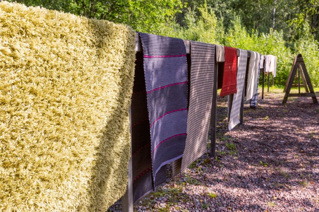 Drying rugs outdoors