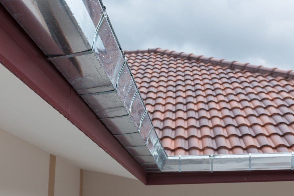 Gutter installed in roof