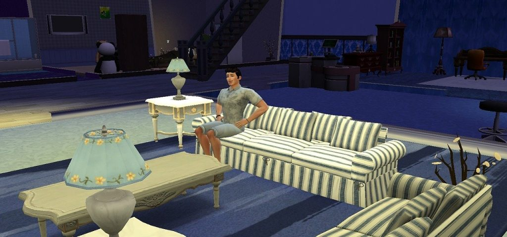 dad sim in the living room