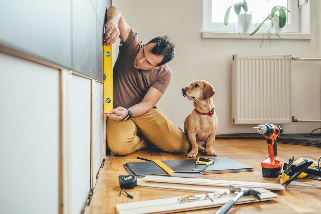 man doing home renovation with dog