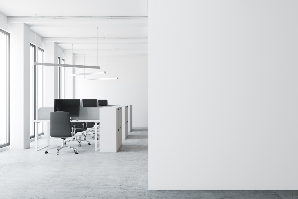 spaced office desks